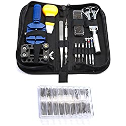 300 Pc Watch Repair Tool Kit Watchband Link Remover Battery Change Screwdrivers Back Remover Opener Kit & Zip Case Watchmaker by Curtzy TM