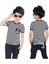 Vogholic Children Boys Navy Striped T-shirt And Pants Suits with Anchor