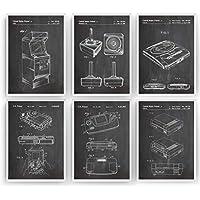 Gaming Poster de Patente - Pack de 6 Láminas - Patent Póster Con Diseños Patentes Decoracion de Hogar Inventos Carteles Prints Wall Art Posters Regalos Decor Blueprint - Marco No Incluido