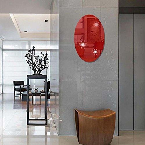 Wand Aufkleber erthome 3D Spiegel Wandaufkleber Oval | Rechteck selbstklebende Zimmer Wandtattoos Kinderzimmer Dekoration Kunst (Rot (Oval)) Fan-wand-kunst