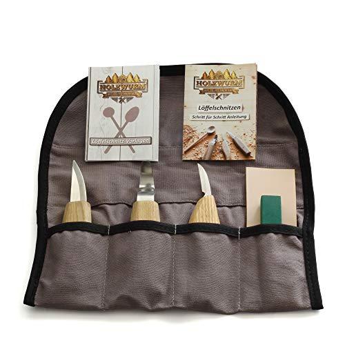 HOLZWURM Holz Schnitzmesser Set inkl. Tasche, Anleitung und Vorlagen, ideales Schnitzwerkzeug Set zum Löffelschnitzen