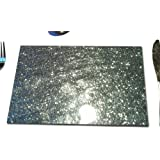 Fused Glass Placemats in Silver Glitter set of 2