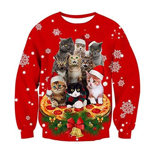 ODRD Christmas Herren Hoodie Weihnachtspullover - Unisex 3D Katze Hund Ugly Sweatshirt Sweater - Hässliche Pulli Lustig Weihnachtspulli Damen Weihnachtsparty S~XXXL -