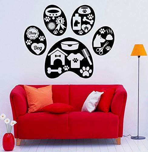 ziweipp Haustierpflege Wand Applique Wand Vinyl Aufkleber Tier Pfote Hause Indoor Wohnzimmer, Schlafzimmer Dekoration Wandaufkleber, 70 * 57cm -