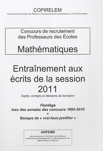 CRPE Mathématiques : Entraînement aux écrits de la session 2011