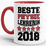 Tassendruck Tasse Beste Physik-Lehrerin/Schule / Abi/Abschied / Lehrer-Geschenk/Geschenk-Idee/mit Spruch/Innen & Henkel Rot