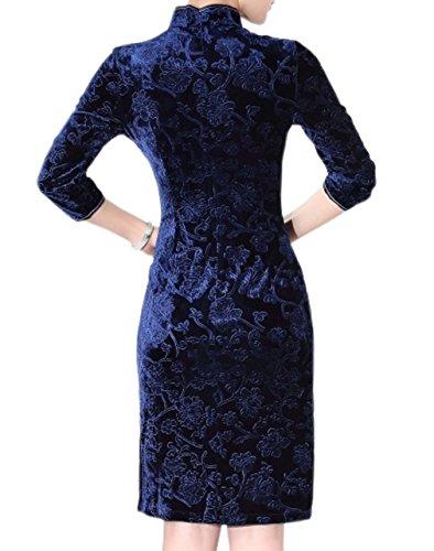 YueLian Damen Sommer Knielang Kleid mit Stehkragen Qipao mit 3/4Ärmel in Fünf Farben Farbe 1