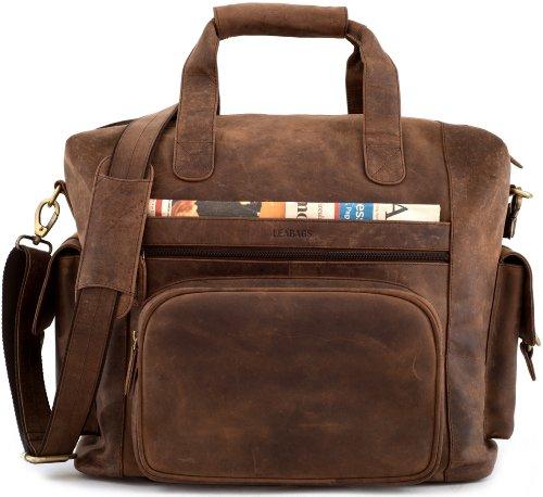 LEABAGS Corona Reisetasche aus echtem Büffel-Leder im Vintage Look - Muskat (Leder-gepäck-set)