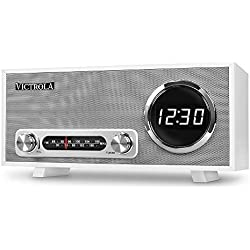 Victrola Broadway Horloge digitale Radio-réveil Bluetooth - Blanc