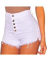 Shorts De Mezclilla Mujeres Cintura Alta Color Puro Elasticidad Corto Vaqueros