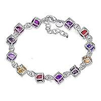 Hosaire 1X Charm Fashion Checkered Colorful Diamond Bracelet Chain Silver For Women Girls