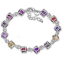 Leisial™ Mujeres de Pulsera de Diamantes de Colores Joyería Cristal para Regalos de Cumpleaño Accesorios de Boda Novia (#1)