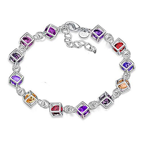 Hosaire 1X Charm Fashion Checkered Colorful Diamond Bracelet Chain Silver For Women Girls