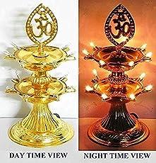 Ivaan 2 Layer New Electric Gold LED Bulb Lights Diya/Deep/Deepak for Pooja/Puja/Mandir Diwali Festival Decoration