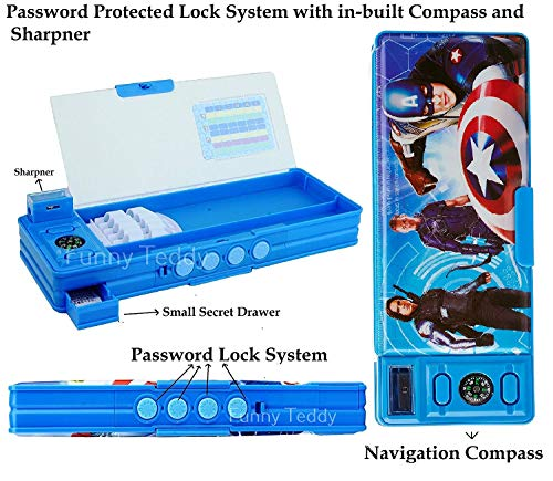 Funny Teddy Password Protect Pencil Box and Sharpener - Dual Side - Multi Purpose - (Super Heroes)