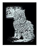 Mammut 136002 - Kratzbild-Katze am Piano, ca. 20 x 25,5 cm, silber