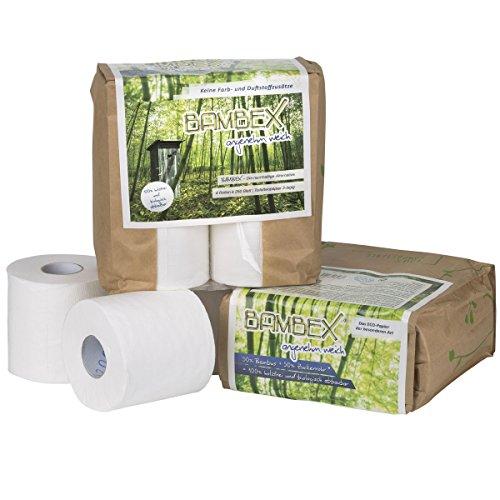 Siehe Beschreibung Toilettenpapier BAMBEX Premium, 4 Rollen, holzfrei und biologisch abbaubar - Camping Bambus Klo Papier WC selbstauflösend -