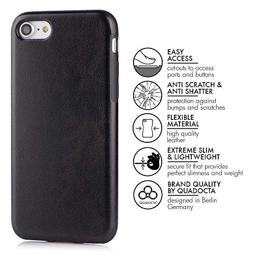 """Case für iPhone 7 (4,7"""") Thin Fit Hülle """"PU Leather"""" - PU Leder Tasche für Apple iPhone 7, Schutzhülle mit Soft Feel Coating in schwarz von QUADOCTA® - Idealer Schutz für Diamantschwarz Jet Black iPho 2 x Schwarz"""