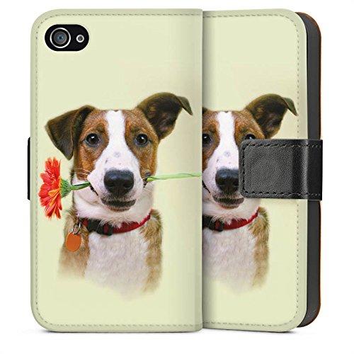 Apple iPhone 4 Housse Étui Silicone Coque Protection Chien Fleur Fleur Sideflip Sac