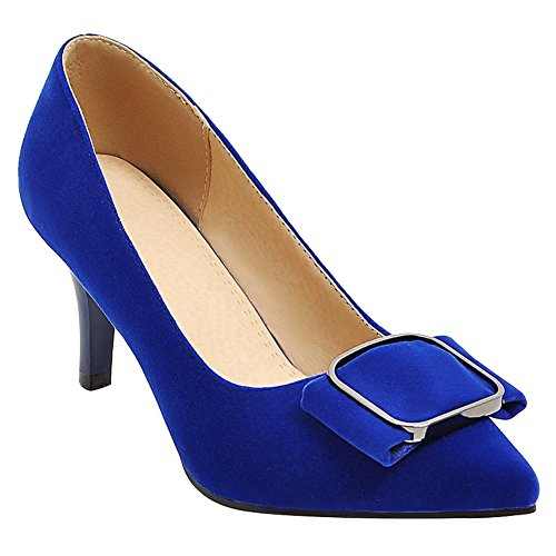 Mee Shoes Damen elegant high heels ohne Verschluss Pumps Blau