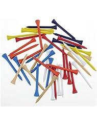 70mm couleurs mélangées de Golf en bois T-shirt Tee de Golf, Tees de golf en bois, en bois, Lot de 100