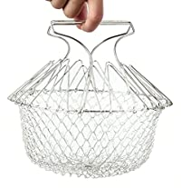 Techsun 12 in 1 Chef Basket Kitchen Tool For Deep Frying, Steaming, Poaching, Blanching - Stainless Steel for Home Usage