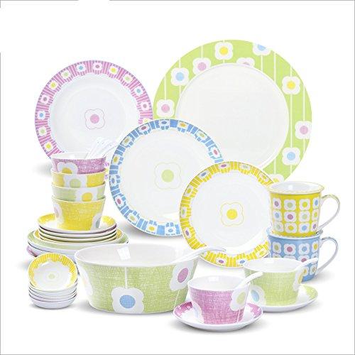MEICHEN Cucina ristorante stoviglie piatti creativi Rainbow petali osso Cina regalo cofanetto 36