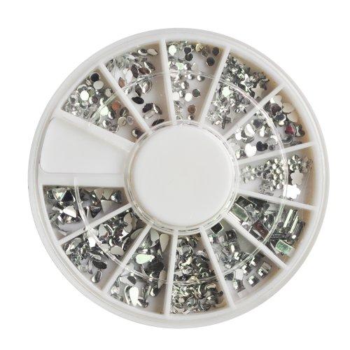 TOOGOO(R) Art d'ongle Lune d'Argent Strass Paquet de 1200 Pierres precieuses Cristal de qualite Premium a 12 differentes formes et tailles, accessoire beaute pour les femmes ongles, amusant et facile a appliquer avec top coat ou la colle a ongles