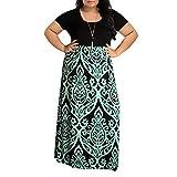 Vestido de Mujer, Vestidos Mujer Verano 2019 Mujer Rayado Largo Boho Vestido Lady Beach Verano Sundress Maxi Vestido de Talla Grande Vestidos Largos de Fiesta (CN:XXXXL, Verde 1)