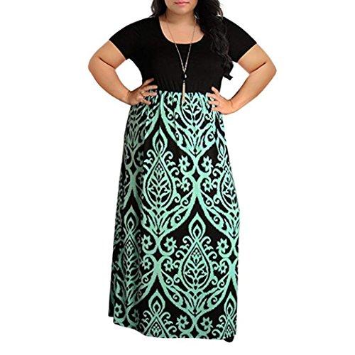 111b18c9e095 Manadlian_Vestido de mujer Vestido de Verano 2018 Rayado Largo Boho Vestido  Lady Beach Verano Sundress Maxi Vestido para Mujer CN:L Verde 1