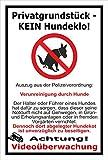 Schild –Privatgrundstück - Kein Hundeklo – Videoüberwachung – Polizeiverordnung – 15x10cm, 30x20cm und 45x30cm – Bohrlöcher Aufkleber Hartschaum Aluverbund -S00187-032-A