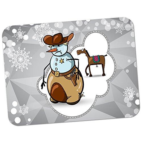 Schneemann Cowboy Sheriff-Dienstmarke Hochwertiges dickes Gummi-Mauspad mit weicher Komfort-Oberfläche