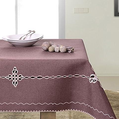 De colour marrón de colour marrón oscuro de mesa de comedor mantel de patrón geométrico bordado práctico y de fácil cuidado Leinoptik lino con ribete de modern STP35