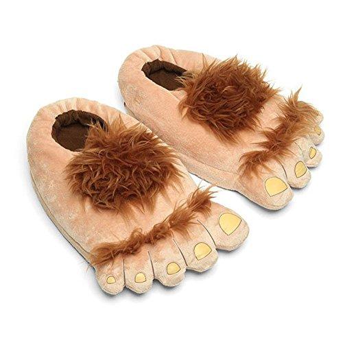 Kostüme Lustige Britische (Luxugen Unisex Erwachsene Hobbit Füße Hausschuhe Halbling Plüsch-Pantoffeln Damen)