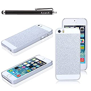 AcenX(TM) Silver Cute Luxury Bling Glitter Hard Back Case Cover for Apple iPhone 5 5S