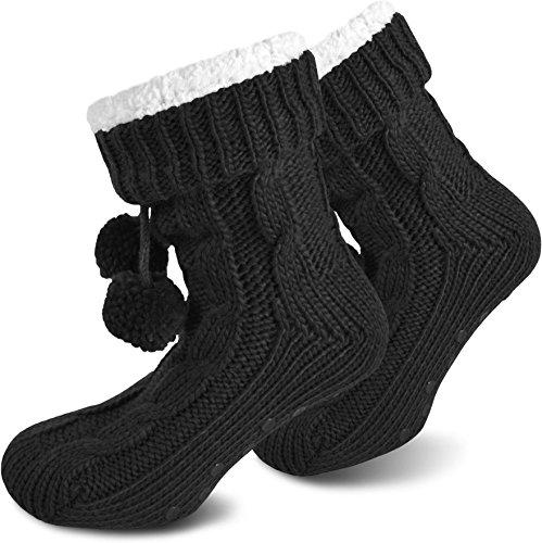 Il Regalo Perfetto! Pantofole Molto Calde Con Fodera In Pelliccia E Suola In Abs Nera