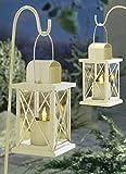 Solar Metall Laterne 2er Set LED Kerze Solarlaterne weiss Gartenlaterne Metalllaterne Gartensolarleuchte Gartensolarlampe Solar Gartendeko Deko Gartenbeleuchtung ABC Home