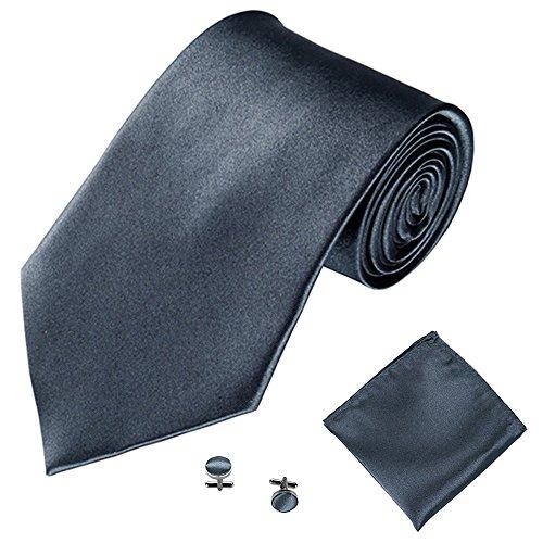 Xmiral Klassische Krawatte Herren Party Einstecktuch Taschentuch Manschettenknopf 3 STÜCKE(C)