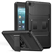 MoKo Amazon Fire 7 2017 Funda (7 Pulgadas, 7ª generación) - Shockproof Híbrido Resistente Smart Cover Case para Choque con Protector de la Pantalla Incorporado para All-New Fire 7 Tablet, Negro