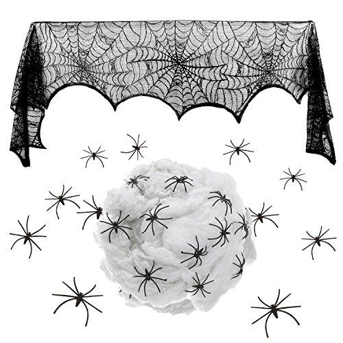 Kostüm Spinnennetz Machen (18 x 96 Zoll Halloween Dekoration Schwarz Spitze Spinnennetz Kamin Mantel Schal Cover, Weiß Spinnennetz mit 24 Stück Halloween Spinnen Festliche Party)