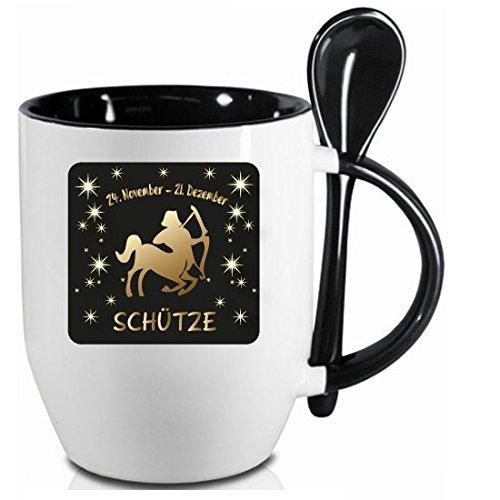 Tazza segno zodiacale * Sagittario * Nero cucchiaio tazza con cucchiaio in ceramica tazza regalo di qualità Top. Tutti segno zodiacale disponibili.