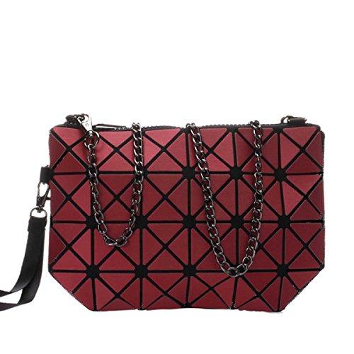Frauen Hologram Geometric Cross Body-Umhängetasche Handtasche Cosmetic Bag Redwine