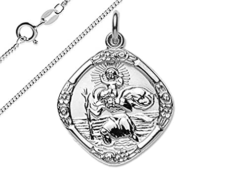 Solid 925 Sterling Silver Double Sided St Christopher Medal Pendant With a 18