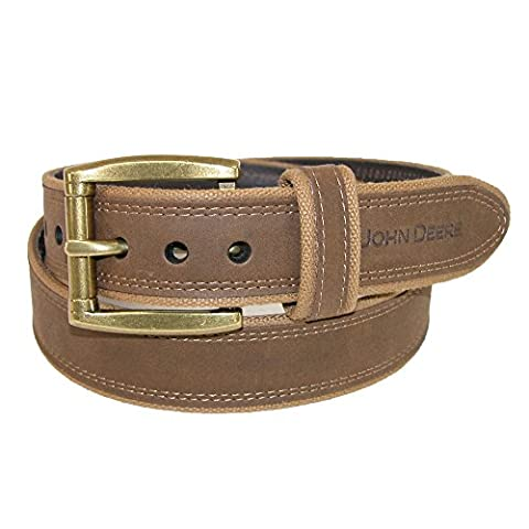John Deere Men's Canvas with Crazy Horse Leather Belt, 36,