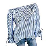 BHYDRY Womens Fashion Langarm Bluse Streifen Drucken Sexy Shirts Schulterfrei Tops (XL,Blau)