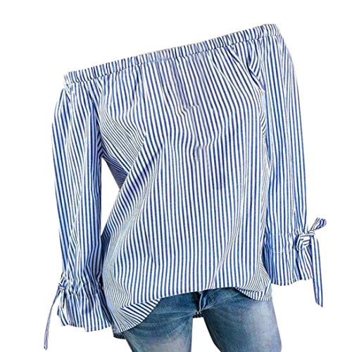 BHYDRY Womens Fashion Langarm Bluse Streifen Drucken Sexy Shirts Schulterfrei Tops (L,Blau)