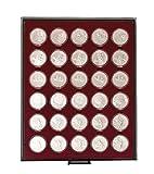 Münzbox RAUCHGLAS mit 30 runden Vertiefungen für Münzkapseln mit Außen-Ø39,5 mm, z.B. für deutsche 20 Euro-/10 Euro-Silbermünzen in LINDNER Münzkapseln