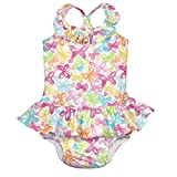 i play. Baby Girls Ruffle Swimsuit With Built-In Absorbent Swim Diaper, White Butterfly, 6 Months