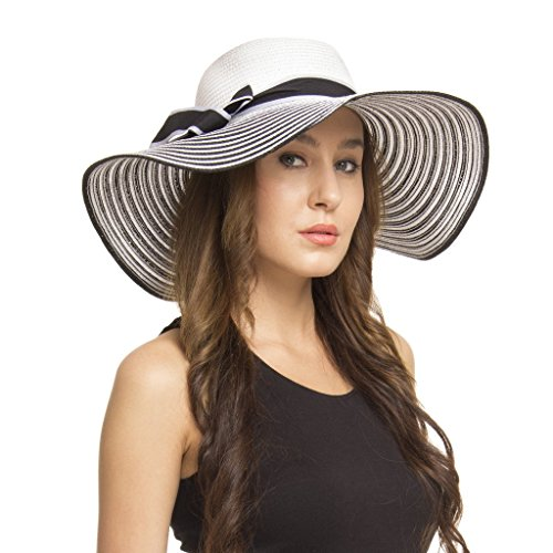 FabSeasons Black Wavy Long Brim Sun Hat for Women