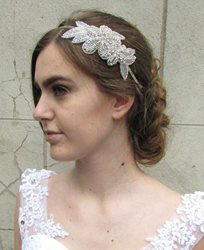 Argent Diamante Fleur Bandeau Bandeau Prom de mariée vintage années 1920 ANNÉES M28 * * * * * * * * exclusivement vendu par – Beauté * * * * * * * *